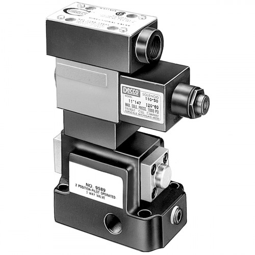230V 3-way, 2 Pos. Pilot Operated Solenoid Hydraulic Pump Valve - 9523
