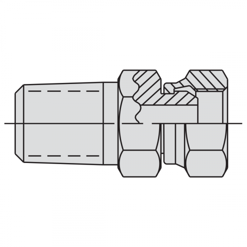 """Swivel Connector Fitting: 1/4"""" NPTF male - 3/8"""" NPSM female - 9676"""