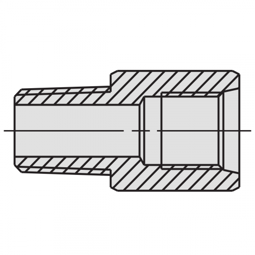 "Connector Fitting: 1/4"" NPTF female - 3/8"" NPTF male - 9679"