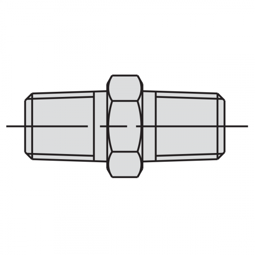 """43mm Male Connector Fitting: 3/8"""" NPTF - 3/8"""" NPTF - 9682"""