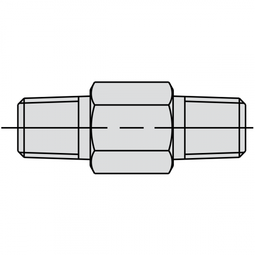 """57mm Male Connector Fitting: 3/8"""" NPTF - 3/8"""" NPTF - 9683"""