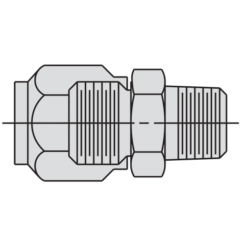 "Straight Connector Fitting: 3/8"" tube x 3/8"" male NPTF - 9692"
