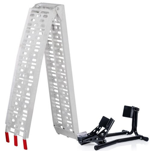SGS Motorcycle Front Wheel Chock and Folding Aluminium Loading Ramp