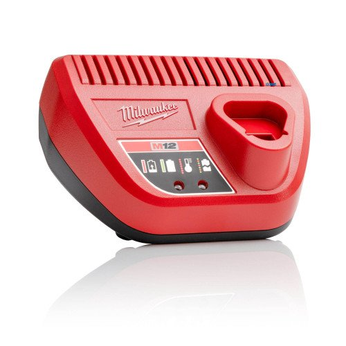 Milwaukee C12C 12V Li-Ion Battery Charger for M12 Battery Packs - Features Charge Level Indicator and Temperature Protection Electronics