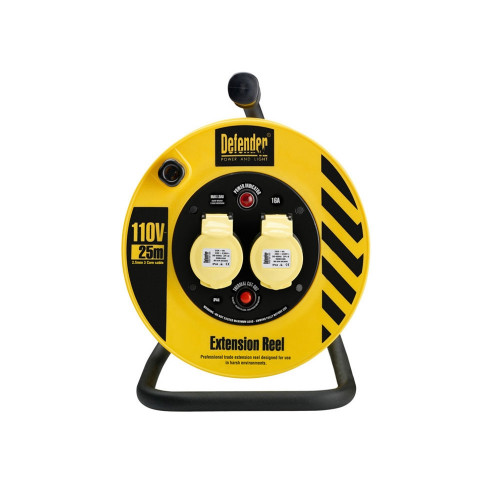 Defender E86450 25m 2x16A 110V Twin Outlet Cable Reel