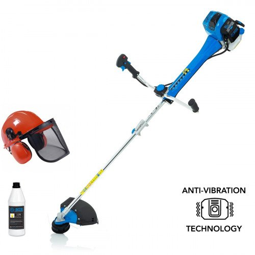 SGS 52cc Professional Anti-Vibration Petrol Trimmer with Premium Grade 2 Stroke Oil & Safety Helmet