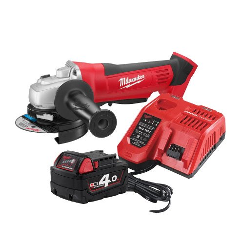 Milwaukee HD18AG115-401 18V Li-ion Cordless 115mm Angle Grinder, 4.0Ah Battery and Fast Charger Bundle