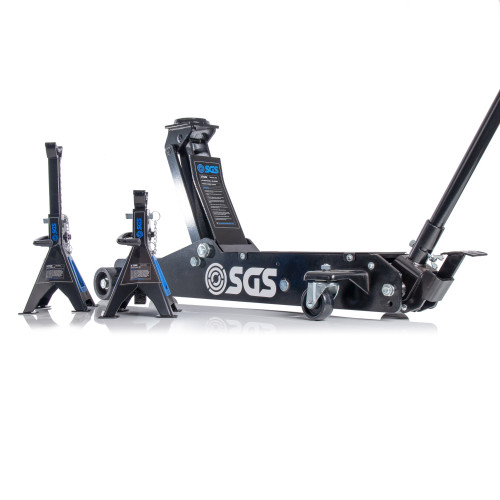 SGS 3 Ton Long Reach Service Trolley Jack and 2 x 3 Ton Heavy Duty Ratchet Axle Stands