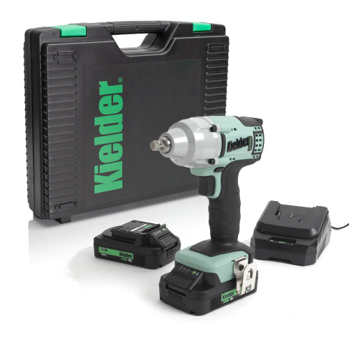 "Kielder KWT-002-17 18V 3/8"", 220Nm Brushless Impact Wrench, 2x 2.0Ah Batteries, Charger and Case"