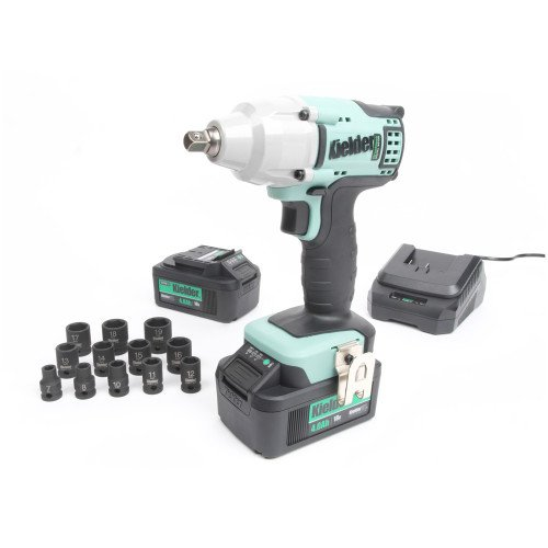 """Kielder KWT-002-24 18V 3/8"""", 220Nm Brushless Impact Wrench, 2x 4.0Ah Batteries, Charger, 12pc Sockets and Case"""