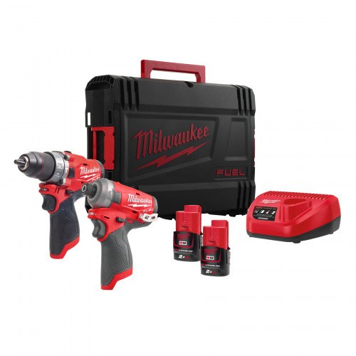 Milwaukee M12FPP2AQ-202X 12V Twinpack, 2 x 2Ah Batteries, Charger and Case