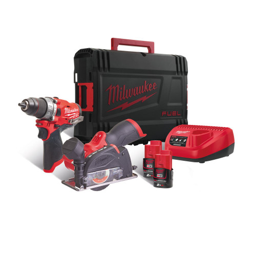 Milwaukee M12FPP2F-202X 12V Combi Drill, Cut Off Tool, 2 x 2Ah Batteries, Charger & Case