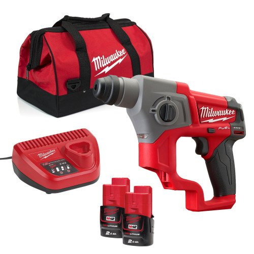 Milwaukee M12CH-202B Compact SDS Hammer Drill, x2 Batteries, Charger and Tool Bag