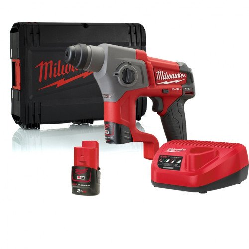 Milwaukee M12CH-202X Compact SDS Hammer Drill, x2 Batteries, Charger and Case