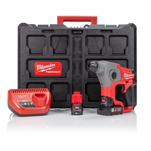 Milwaukee M12CH-622P 12V Compact SDS Hammer Drill, 12V 2.0Ah & 6.0Ah Batteries, Charger and Packout Case Kit