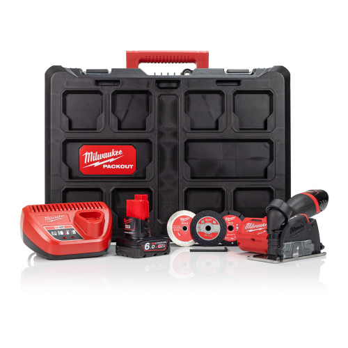 Milwaukee M12FCOT-622P 12V Multi-material Cut Off Tool, 12V 2.0Ah & 6.0Ah Batteries, Charger and Packout Case Kit