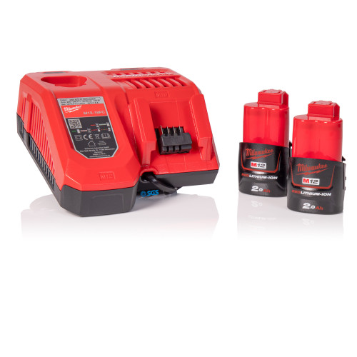 Milwaukee 2x 12V 2.0Ah Batteries & Rapid Fast Charger Bundle