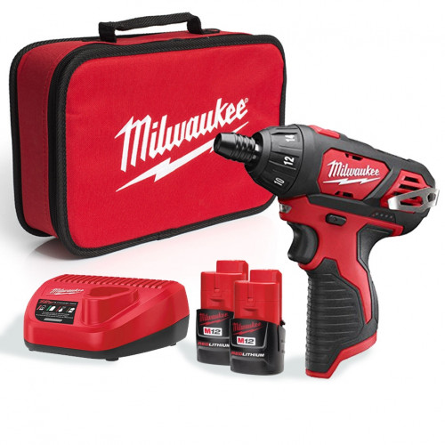 Milwaukee M12SET1D-152B 12v 20Nm 1/4 Sub Compact Single Speed Driver, x2 1.5Ah Batteries, Charger & Bag