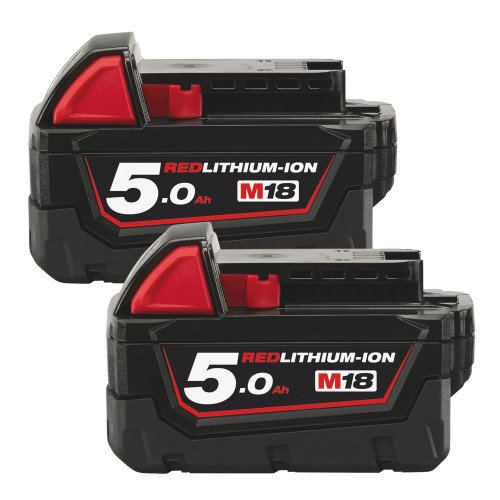 Milwaukee M18B5 18V 5Ah Twin Pack Red Lithium-Ion Genuine Batteries