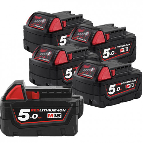 Milwaukee M18B5 18V 5Ah 5 Pack Red Lithium-Ion Genuine Batteries