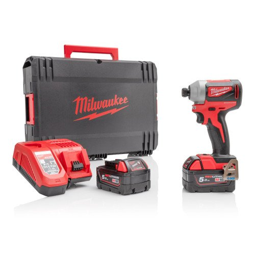 """Milwaukee M18BLID2-502X 18V 180Nm 1/4"""" Hex Impact Driver Bundle with Free Battery"""