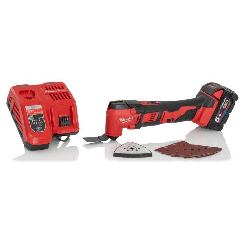 Milwaukee M18BMT-501 M18 18V Cordless Multi-Tool with 5Ah Battery and Charger - Compact Design, 12 Variable Speed Settings, 12000 to 18000 OPM