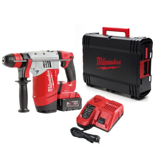 Milwaukee M18CHPX-501X SDS Plus Hammer Drill, 5.0Ah Battery, Rapid Fast Charger and Case Bundle