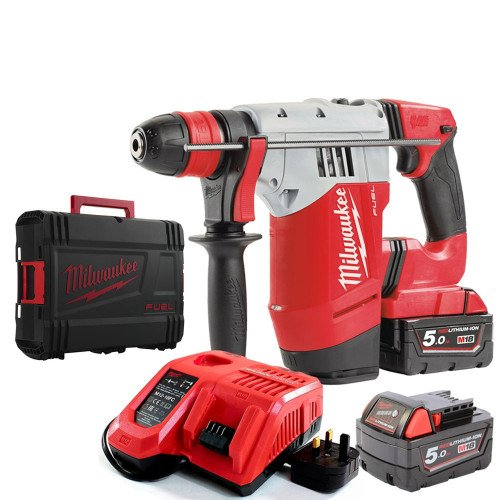Milwaukee M18CHPX-502X SDS Plus Hammer Drill, x2 5.0Ah Batteries and Rapid Fast Charger with Case
