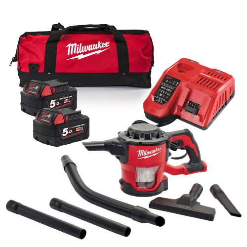 Milwaukee M18CV-502B 18v Compact Hand Vacuum, 2x 5.0 Ah Batteries, Charger and Bag