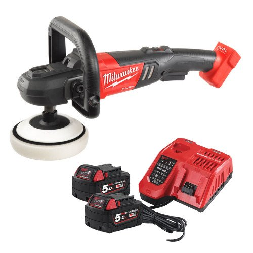 Milwaukee M18FAP180-502 18V Fuel Polisher, x2 5.0Ah Batteries & Charger