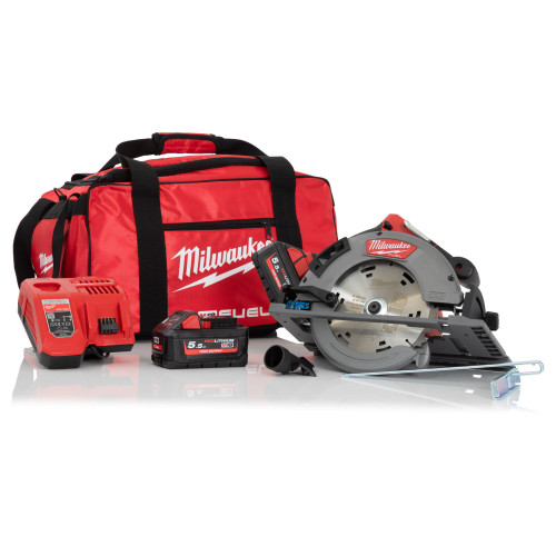 Milwaukee M18FCSG66-552B 66mm Circular Saw for Wood and Plastics, 2x 5.5Ah Batteries, Charger and Wheel Bag