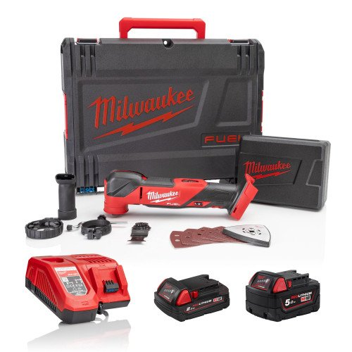 Milwaukee M18FMT-522X 'FUEL' Multi-Tool, 5Ah Battery, 2Ah Battery, Fast Charger and Case