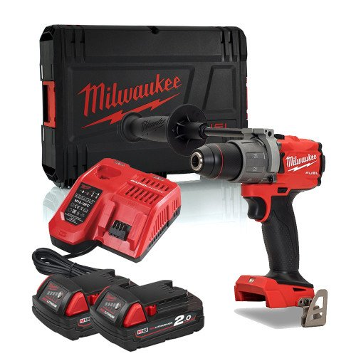 Milwaukee M18FPD2-202X 18V 135Nm GEN3 Brushless Fuel Combi Drill, 2 x 2.0Ah Batteries, Charger & Case
