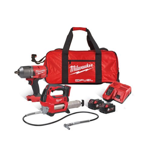 Milwaukee M18FPP2AI-502B 2pc Mechanic's Powerpack, 2 x 5Ah Batteries, Fast Charger and Bag