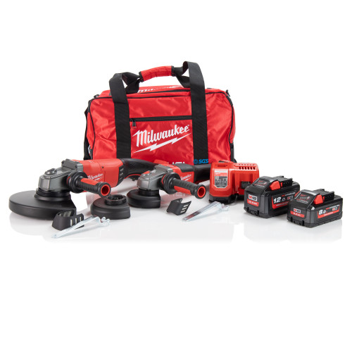 Milwaukee M18FPP2N2-1282B M18 Grinder Twin Pack, Batteries, Charger and Bag