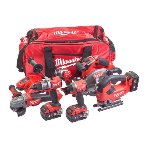 Milwaukee M18FPP6D2-503B 6 Piece M18 FUEL Power Pack - Drill, Impact Driver, Circular Saw, Jigsaw, Grinder, Torch, Batteries, Charger and Tool Bag