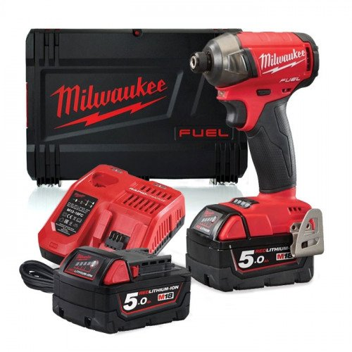 Milwaukee M18FQID-502X Fuel Surge ¼˝ Hydraulic Impact Driver, 2x 5.0Ah Batteries, Charger and Case Bundle