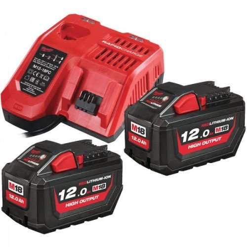 Milwaukee 2x 12.0Ah High Output Battery & Fast Charger Pack