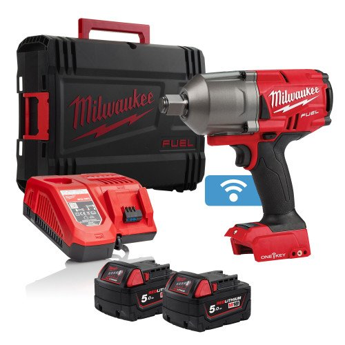 """Milwaukee M18ONEFHIWF34-502X Fuel 18v 2033Nm One Key 3/4"""" Impact Wrench, x2 5Ah Batteries, Charger & Case"""