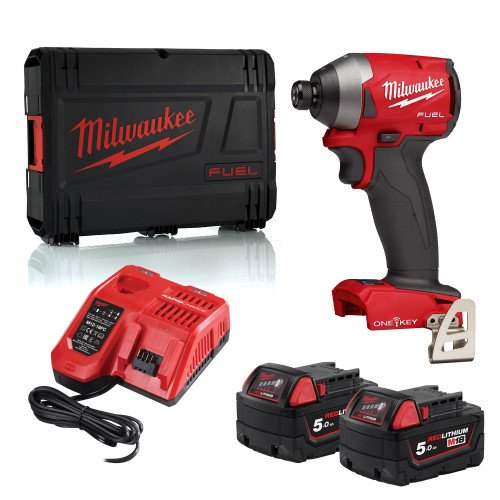 Milwaukee M18ONEID2-502X 18V GEN3 FUEL Impact Driver, 2x 5.0Ah Batteries, Charger and Case