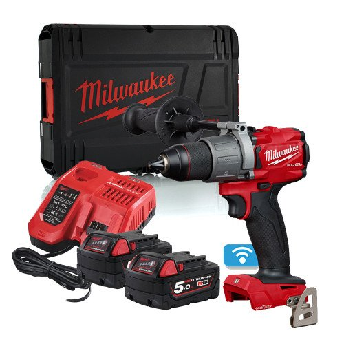 Milwaukee M18ONEPD2-502X 18V 135Nm GEN3 ONE-KEY Combi Drill, 2x 5.0Ah Battery, Charger and Case