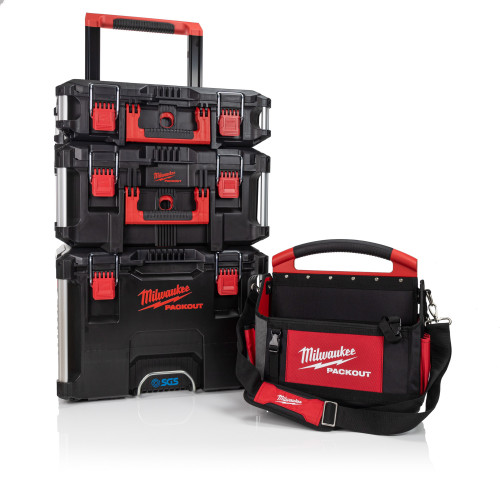Milwaukee Packout Bundle with 3 Piece Toolbox System and 40cm Tote Tool Bag