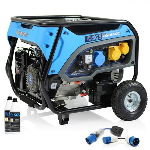 SGS 8.1 kVA Heavy Duty Portable Petrol Generator With 2 Litre Engine Oil & 2x Fly Lead Socket Converters