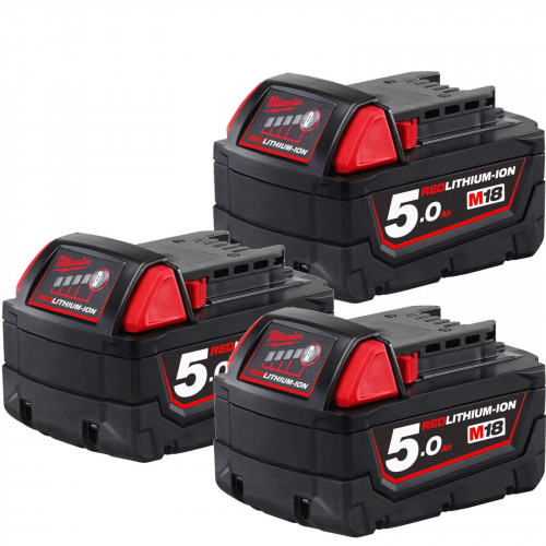 Milwaukee M18B5 18V 5Ah Triple Pack Red Lithium-Ion Genuine Batteries