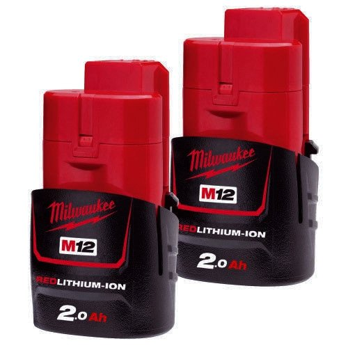 Milwaukee M12B2 12V 2.0Ah Red Lithium-Ion Battery Twin Pack