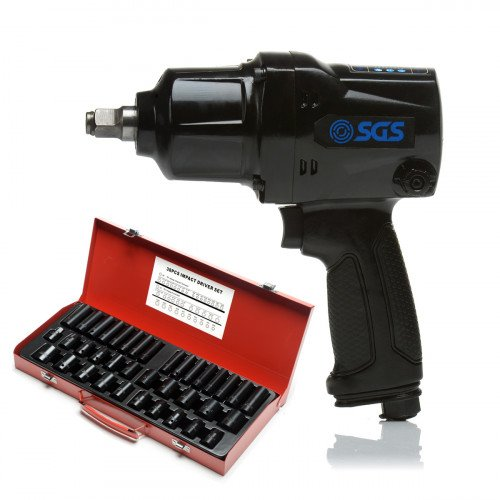 "SGS 1/2"" Heavy Duty 880Nm Air Impact Wrench with 38 Pcs Drive Deep Air Metric & Imperial Socket Set"