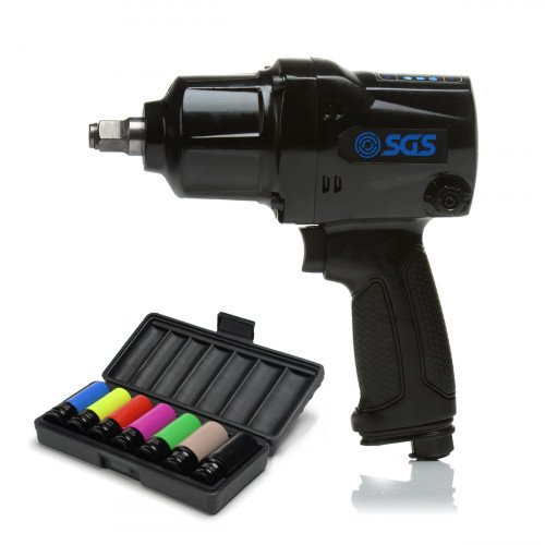 """SGS 1/2"""" Heavy Duty 880Nm Air Impact Wrench with 7 Pcs Drive Deep Air Socket Set for Wheel Nuts"""