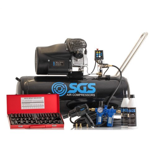 SGS 100 Litre Direct Drive Air Compressor & Heavy Duty Ratchet Kit - 14.6CFM, 3.0HP, 100L