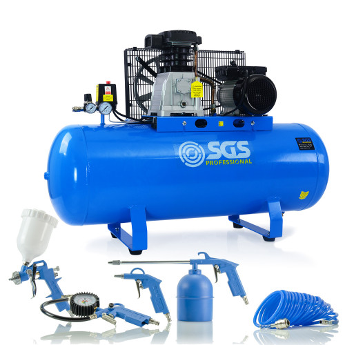 SGS 150 Litre Belt Drive Air Compressor & 5 Piece Tool Kit - With FREE Oil