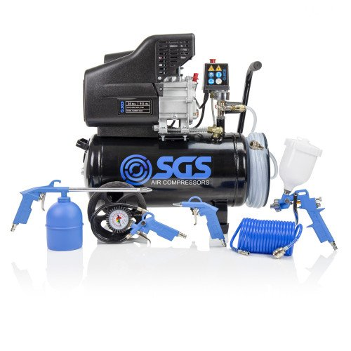 SGS 24 Litre Direct Drive Air Compressor With Integrated Hose Reel & 5 Piece Tool Kit - 9.5CFM, 2.5HP, 24L